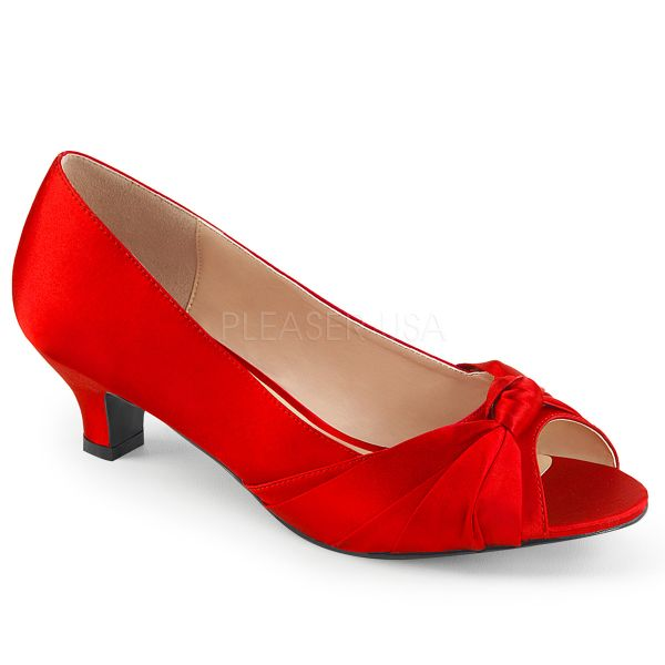 Peep Toe Pumps in rot Satin FAB-422